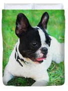 French Bulldog Puppy In The Grass - Painted Duvet Cover by Ericamaxine Price