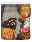 French Flea Market Pottery Duvet Cover