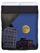 Full Moon At The Plaza Duvet Cover