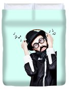 Funny Man Wearing Headphone On Blue Background Duvet Cover