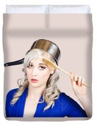 Funny Pin Up Housewife Saluting For Cooking Duties Duvet Cover