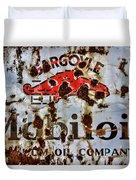 Gargoyle Mobiloil Vacuum Oil Co Rusty Sign Duvet Cover