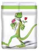 Gecko In Love Duvet Cover