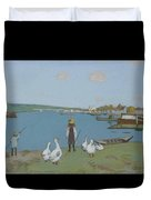 Geese By The River Loing 02 Duvet Cover