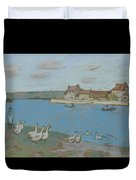 Geese By The River Loing 03 Duvet Cover