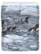 Gentoo Penguins By Alan M Hunt Duvet Cover