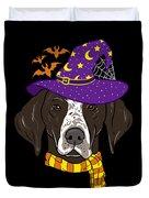 German Shorthair Halloween Witch Hat Flying Bats Duvet Cover