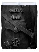 German Soldier Ww2 Black And White Duvet Cover