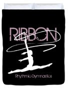 Girl Competing In Female Rhythmic Gymnastics Jumping With A Ribbon Duvet Cover