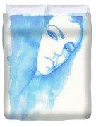 Girl In Blue Duvet Cover