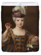 'girl With A Bird Cage'. Ca. 1712. Oil On Canvas. Duvet Cover