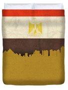 Giza Egypt World City Flag Skyline Duvet Cover