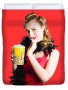 Glamorous Woman Holding Popcorn Duvet Cover