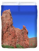 Glowing Red Rocks In The Teide National Park Duvet Cover