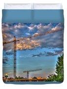 Going Up Greenville South Carolina Construction Cranes Building Art Duvet Cover