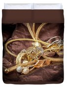 Gold Jewelry Close Up Duvet Cover