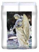 Golden Angel With Pink Rose Duvet Cover