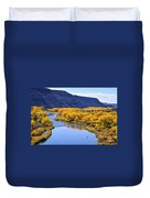 Golden Autumn Trees San Juan River Landscape Duvet Cover