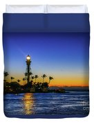 Golden Lighthouse Reflection Duvet Cover by Tom Claud