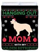 Golden Retriever Ugly Christmas Sweater Xmas Gift Duvet Cover