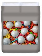 Golf Balls And Colorful Tees Duvet Cover