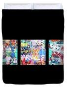 Graffitis Triptych Duvet Cover