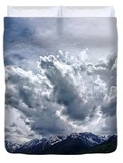 Grand Teton Mountains And Clouds Duvet Cover