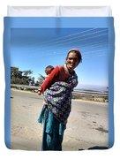 Grandchild And Grandmother Shimla Himachal Pradesh Duvet Cover