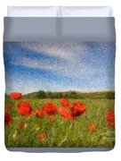 Grassland And Red Poppy Flowers 3 Duvet Cover
