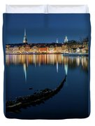 Gray Wolf Shipwreck And Stockholm Gamla Stan Fantastic Reflection In The Baltic Sea  Duvet Cover