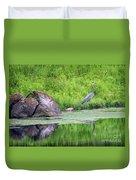 Great Blue Heron Fishing Duvet Cover