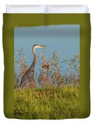 Great Blue Heron Looking For Food Duvet Cover