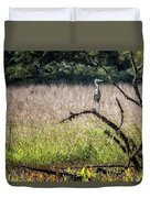 Great Blue Heron On A Snag Duvet Cover