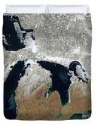 Great Lakes In Winter Duvet Cover
