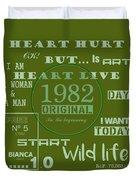 Green 1982 Original Duvet Cover
