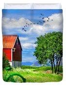 Green Bike On The Farm Duvet Cover