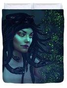 Green Eyed Medusa Duvet Cover