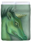 Green Water Horse Unicorn Duvet Cover by MM Anderson