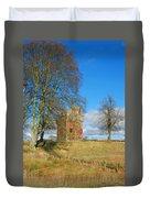 Greenknowe Tower In Winter Sun, Scottish Borders Duvet Cover