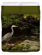 Grey Heron Fishing Duvet Cover