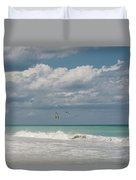 Group Of Pelicans Above The Ocean Duvet Cover