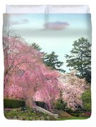 Weeping Cherry And Tulips Duvet Cover