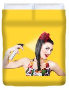 Haircare. Brunette Pinup Woman Using Hair Product Duvet Cover