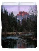 Half Dome Reflection Over Merced River At Sunset, Yosemite National Park  Duvet Cover