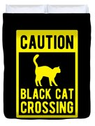 Halloween Shirt Caution Black Cat Crossing Gift Tee Duvet Cover