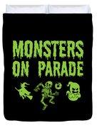 Halloween Shirt Monsters On Parade Green Gift Tee Duvet Cover