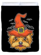 Halloween Shirt Witch Yorkshire Dog Costume Gift  Duvet Cover