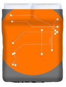 Hamburg Orange Subway Map Duvet Cover