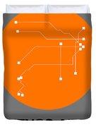 Hamburg Orange Subway Map Duvet Cover
