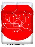 Hamburg Red Subway Map Duvet Cover
